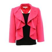 Kasper NEW Pink Rose Women's 4 Seamed Open-Front Crepe Ruffled Jacket $99 #300