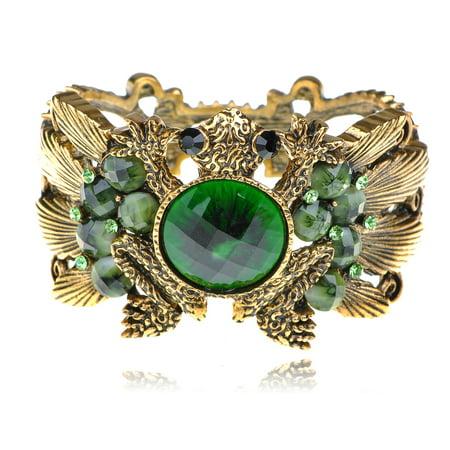- Gold Tone Fashion Green Crystal Rhinestone Frog Toad Bracelet Bangle Cuff