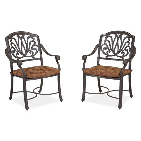 - Home Styles Floral Blossom Outdoor Arm Chairs with Cushion, Set of 2, Charcoal