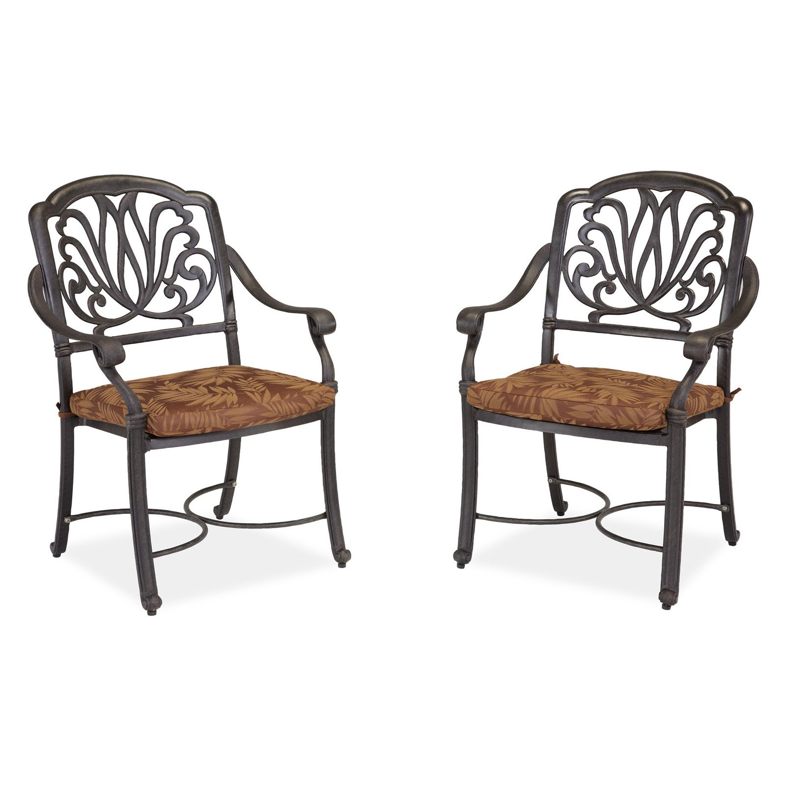 Home Styles Floral Blossom Outdoor Arm Chairs with Cushion, Set of 2, Charcoal