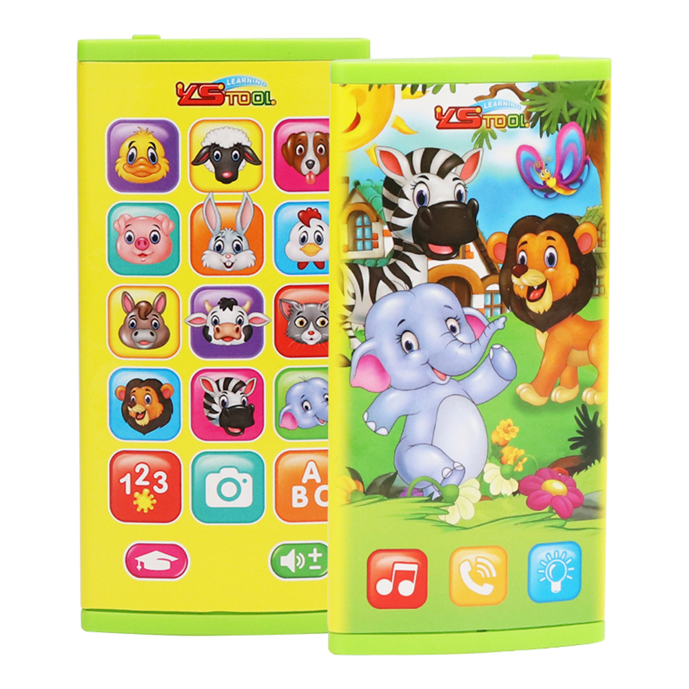 Two-Sided Screen Mobile Phone Toy Music Learning Animal Chat Count Smart Phone Education Toy for Toddler Kids
