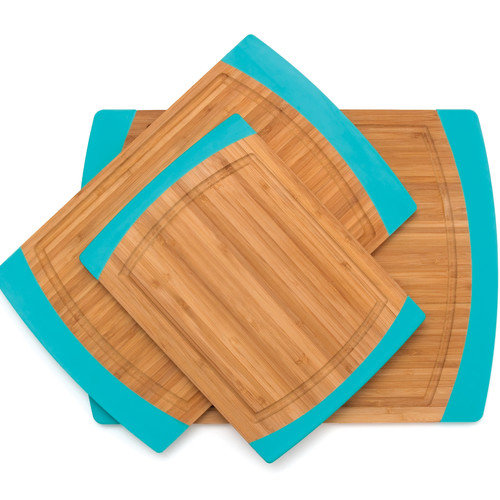S/3 Bamboo Non Slip Cutting Board With Silicone Sides, Red