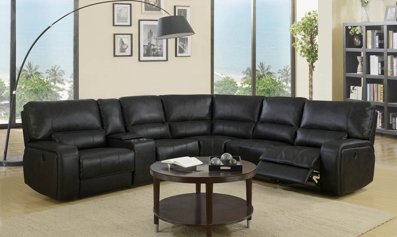 Homeroots 343957 246 X 40 X 41 In Modern Black Leather Sectional Sofa With Power Recliners Walmart Com Walmart Com