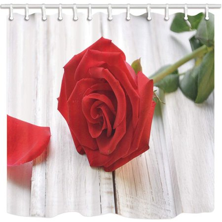 WOPOP Valentine'S Day Red Rose On White Wooden Plank Polyester Fabric Bathroom Shower Curtain 66x72 inches (Red Wooden Roses)