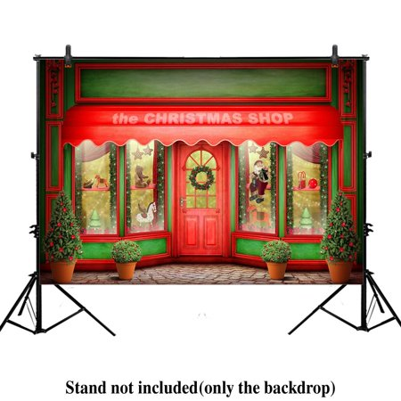 GreenDecor Polyester Fabric 7x5ft red christmas store Xmas new year photography photo backdrop background toys gifts winter holiday party santa claus window shops house - Holiday Backdrops