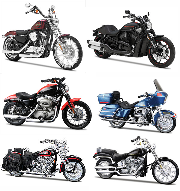 Harley Davidson Motorcycle 6pc Set Series 31 1/18 by Maisto