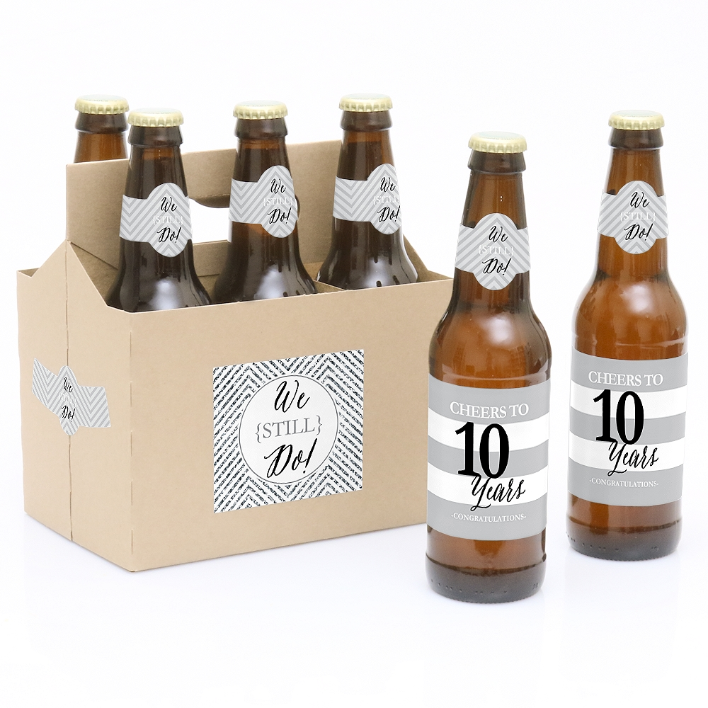 We Still Do - 6 10th Wedding Anniversary Party Beer Bottle Labels with 1 Beer Carrier
