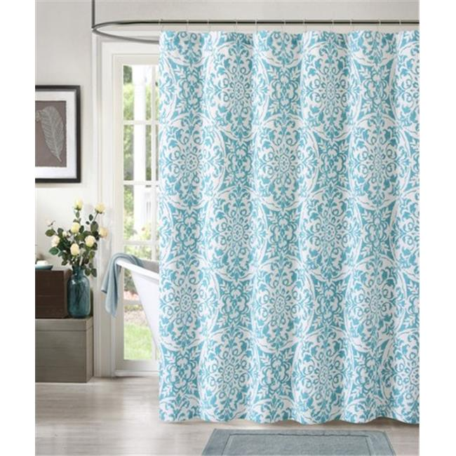 Luxury Home York Print Shower Curtain, Teal - 72 x 72 inch