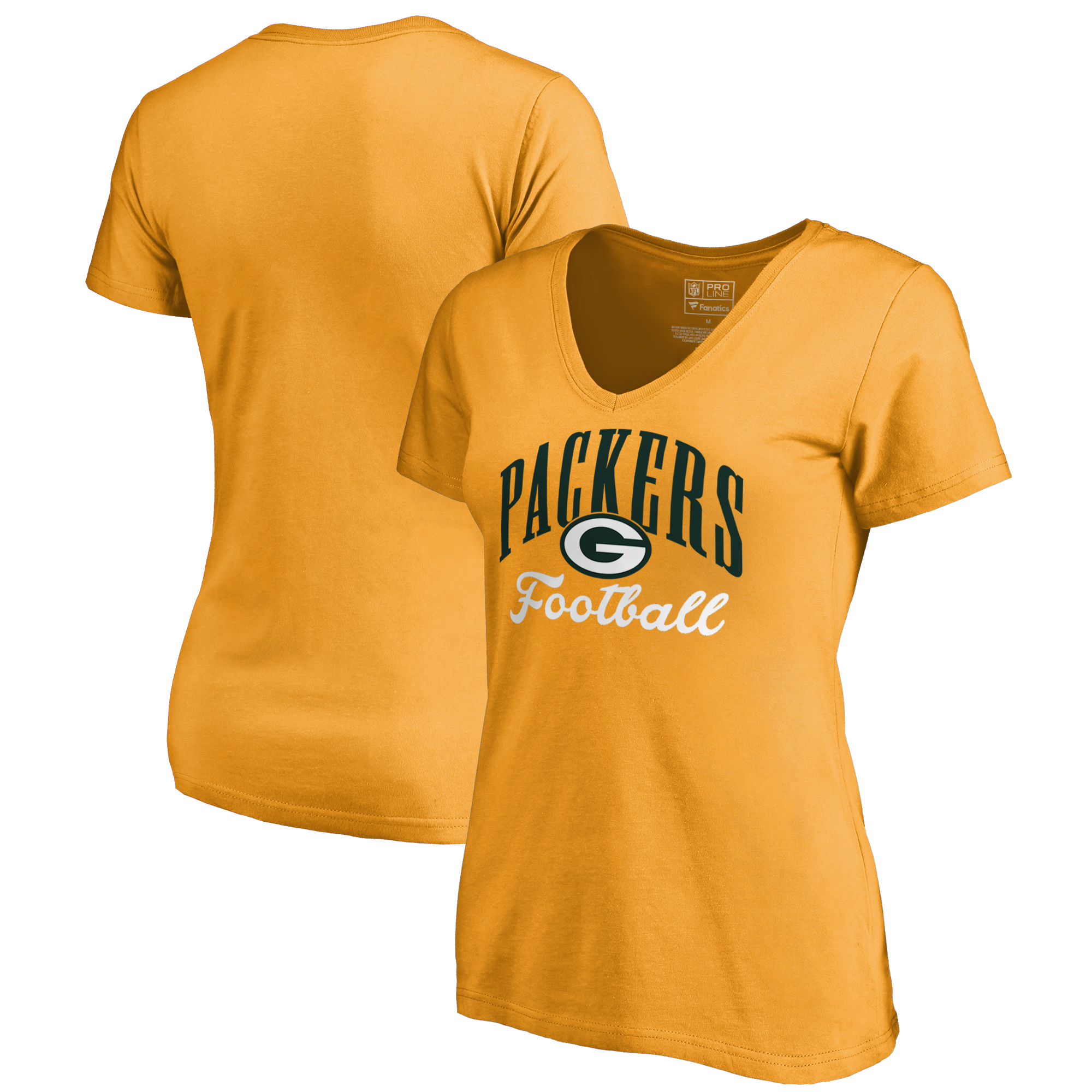 Green Bay Packers NFL Pro Line by Fanatics Branded Women's Victory Script V-Neck T-Shirt -Gold