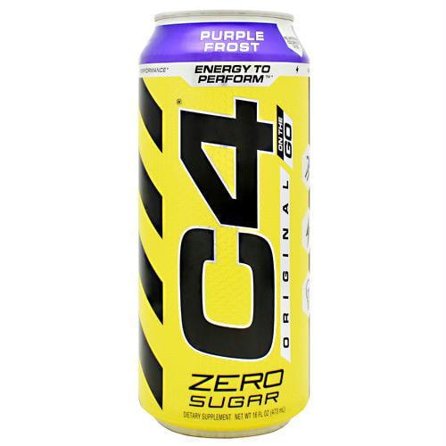 C4 Original Carbonated, Pre Workout + Energy Drink, 12-16oz Cans, Purple Frost
