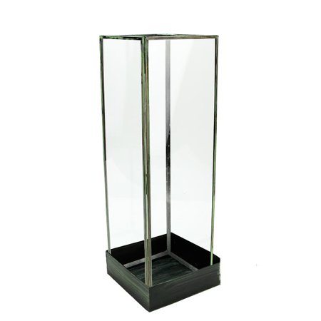 "Image of ""Sage 18.25"""" Rectangular Indoor Glass Terrarium Tower with Base - Clear/Green"""