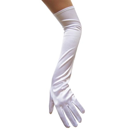 SeasonsTrading White Satin Gloves (Opera Length) - Wedding, Prom, - Opera Length Gloves