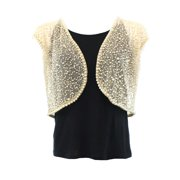 Marina NEW Beige Women's Medium M Bolero Shrug Pearl-Embellish Jacket $129