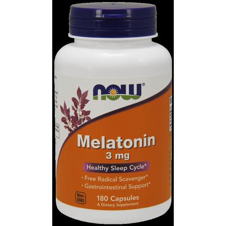 NOW Melatonin 3 mg Capsules, 180 Ct