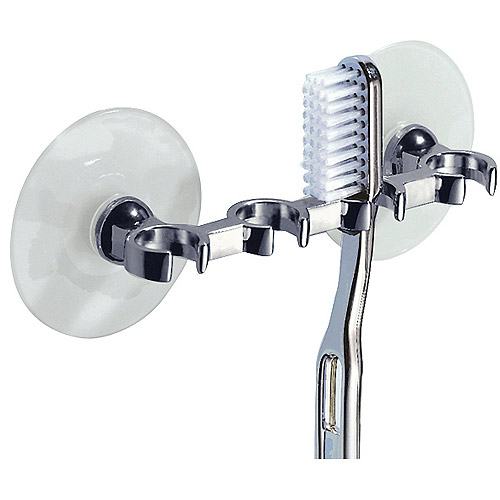 InterDesign Suction Toothbrush Holder for Bathroom Mirror, Shower, Polished Chrome