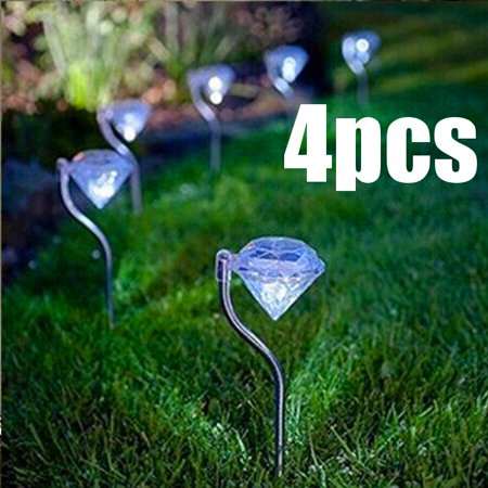 Solar Garden Lights, Outdoor Decorations Color Changing LED Diamond Solar Light Stainless Steel Stake Pathway lights for Landscape Walkway Yard Path Deck Lawn Patio Driveway 4 Pcs ()