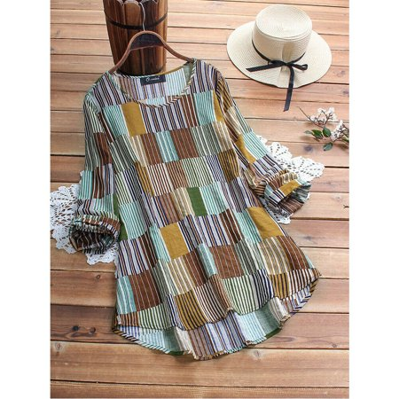 Womens Summer Striped V Neck Blouses Loose Baggy Tops Tunic T Shirts Plus Size