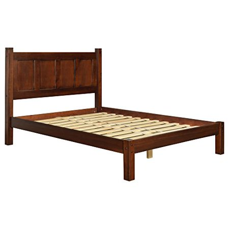Modern Transitional Solid Pine Wood Full Platform Bed - Includes Modhaus Living Pen (Cherry Finish)