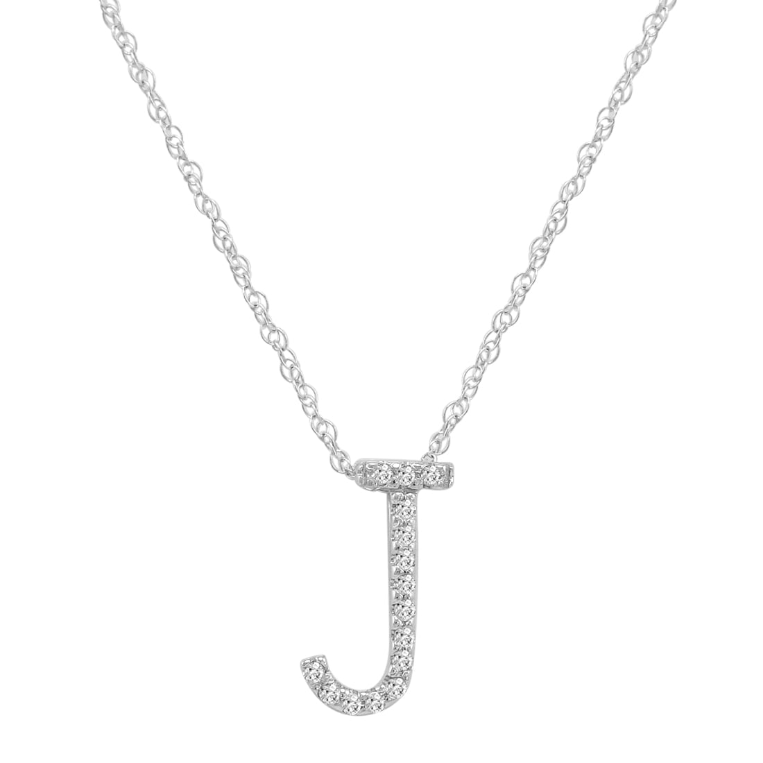 """Amanda Rose Collection 14K White Gold Diamond """"J"""" Initial Pendant, 16"""" Necklace by"""