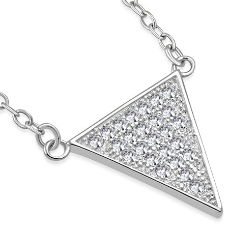 925 Sterling Silver White CZ Triangle Womens Pendant Necklace