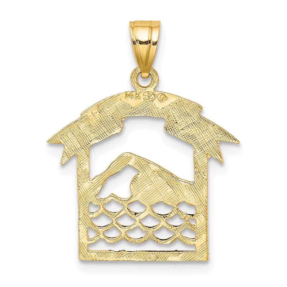 14Kt Yellow Gold Polished Textured Frame of Swimmer Swim Charm Pendant