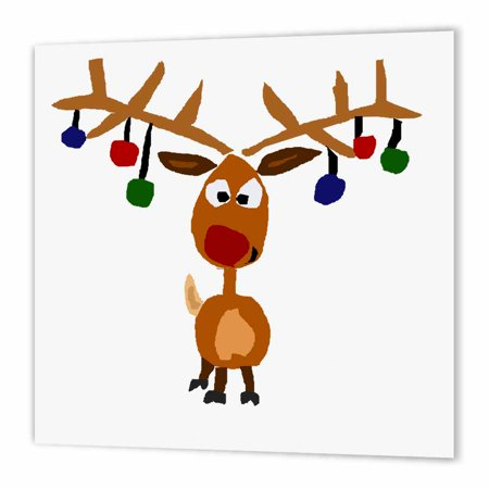 3dRose Funny Rudolph the Red nosed Reindeer Christmas Art, Iron On Heat Transfer, 10 by 10-inch, For White