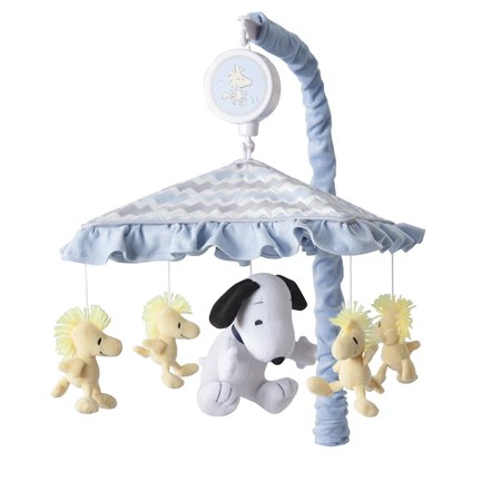 My Little Snoopy Musical Mobile, Snoopy is surrounded by his loyal companion Woodstock twirling slowly to the music of Brahms