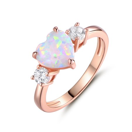 18k Rose Gold Plated Fire Opal Heart Ring