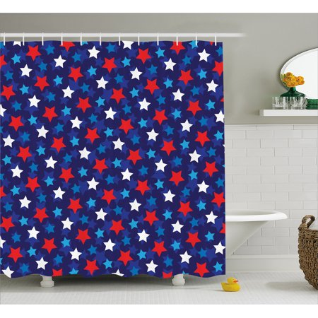 Navy Blue Decor Shower Curtain American Flag Inspired Patriotic Design With Stars Image Fabric