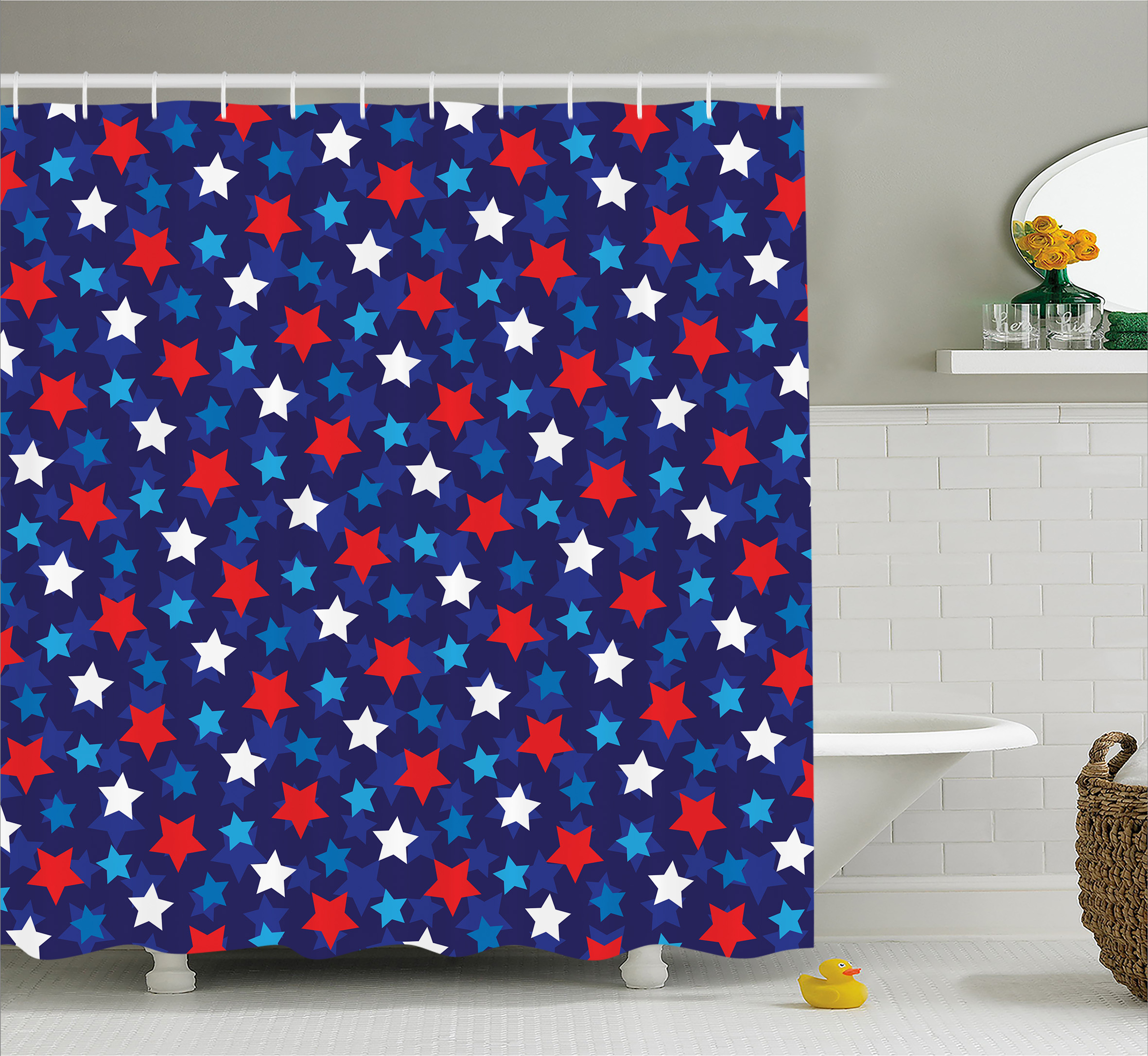 Navy Blue Shower Curtain, American Flag Inspired Patriotic Design with the Stars Image, Fabric Bathroom Set with Hooks, Red White Blue and Dark Blue, by Ambesonne