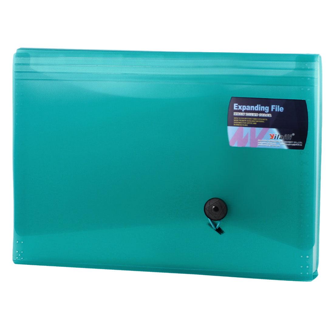 Unique Bargains Green Plastic Cover 13 Slots Paper Document File Holder Organizer Bag