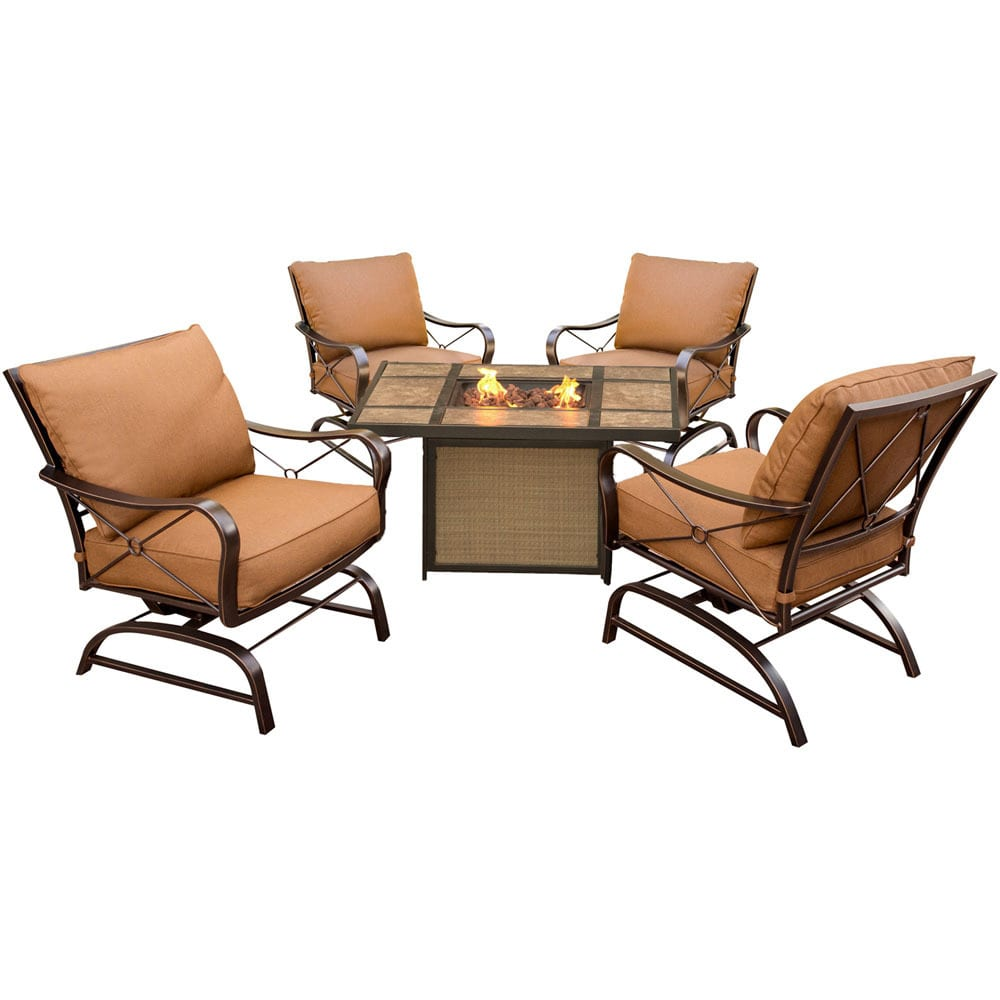 Cambridge Outdoor Bradford 5-Piece Conversation Set with Tile-Top Fire Pit Table