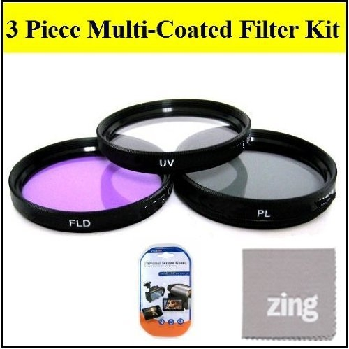 52mm Multi-Coated 3 Piece Filter Kit (UV-CPL-FLD) For Canon EF 50mm f/2.5 Compact Macro Lens + Cap Keeper + MicroFiber Cleaning Cloth + LCD Screen Protectors