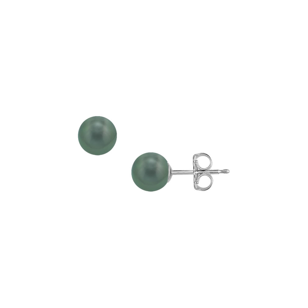 Tahitian Pearl Stud Earrings 18K White Gold 8 MM - image 2 de 2