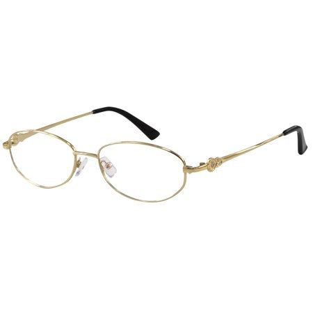Ebe Women Reader Cheaters Stainless Steel Full Rim Anti Glare Lenses Gold (Cheaper Glasses)