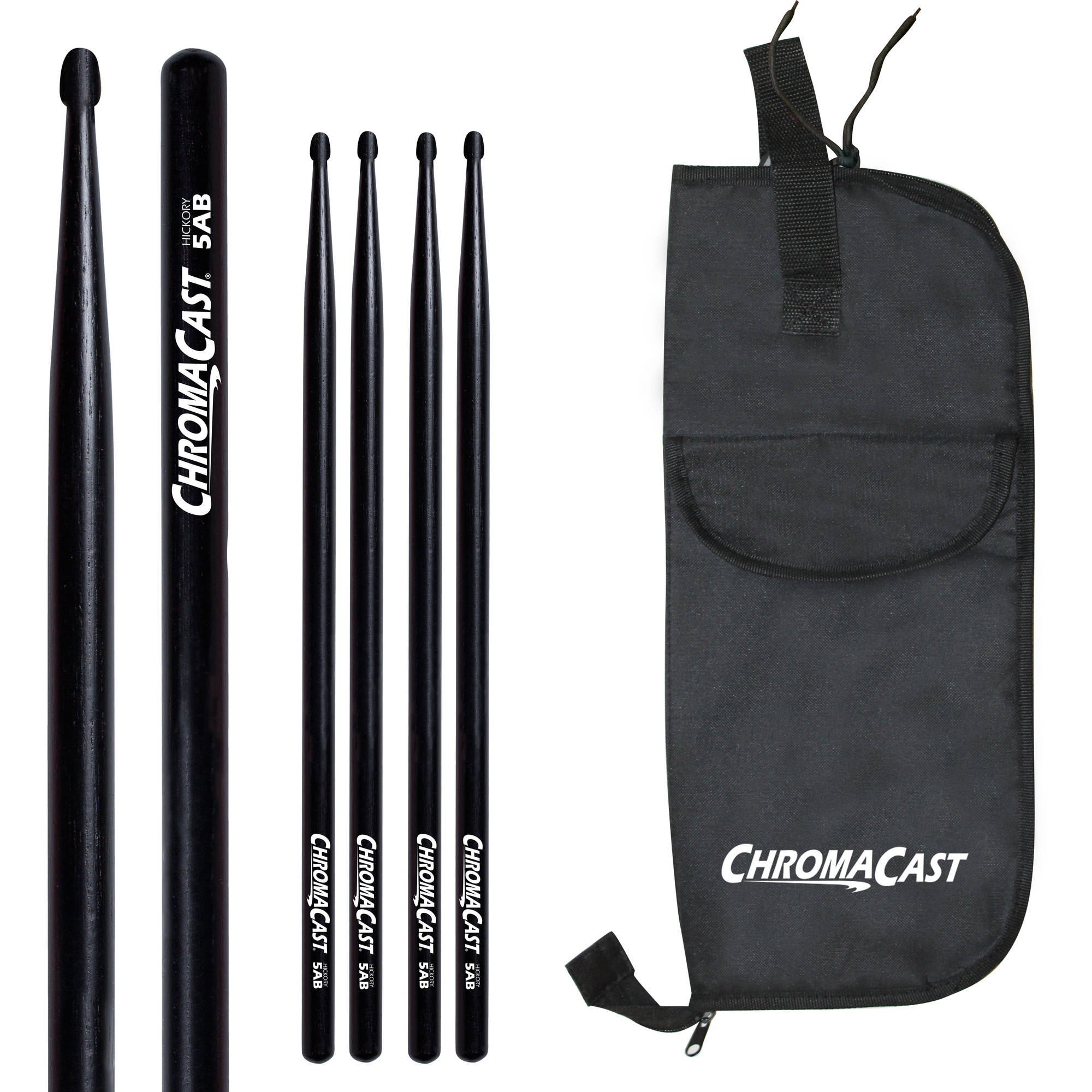 ChromaCast 5A Black Hickory Drumsticks, 3 Pairs with Drumstick Bag by
