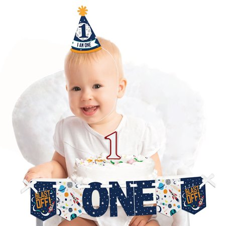 Blast Off to Outer Space 1st Birthday - First Birthday Boy Smash Cake Decorating Kit - High Chair Decorations