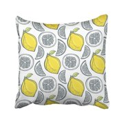 BSDHOME Acid Cute Yellow Lemons Pattern Handdrawn with Citrus Slice Color Dessert Draw Pillow Case Pillow Cover 18x18 inch Throw Pillow Covers