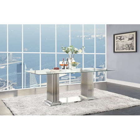 Acme Cyrene Dining Table with Double Pedestal in Stainless Steel and Clear Glass