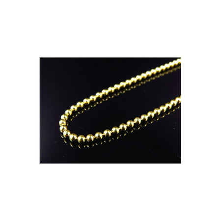 10K Yellow Gold Beaded Dog Tag Chain Necklace 2.5MM 20