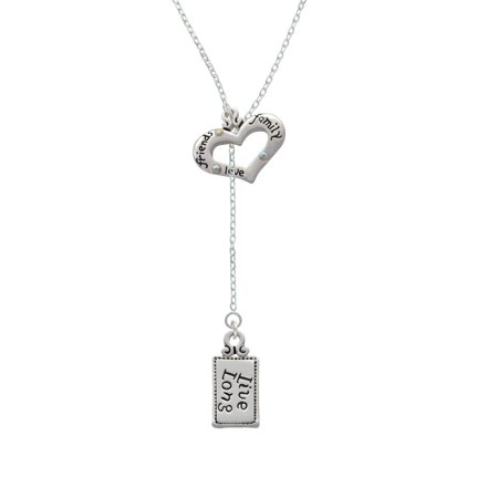 Long Lariat - Live Long - Friends Family Heart Lariat Necklace