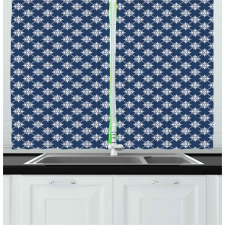 - Indigo Curtains 2 Panels Set, Ancient Greek House Tile Inspired Design with Floral Flower Leaf Details, Window Drapes for Living Room Bedroom, 55W X 39L Inches, Navy Blue and White, by Ambesonne