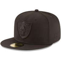 Oakland Raiders New Era Black on Black 59FIFTY Fitted Hat