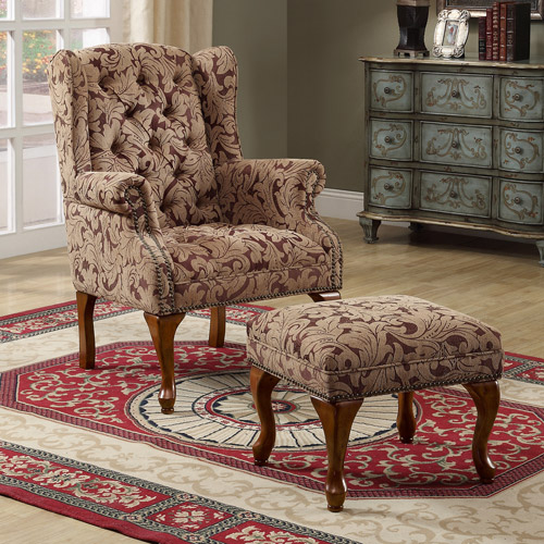 Traditional Wing Back Chair/Ottoman, Burgundy