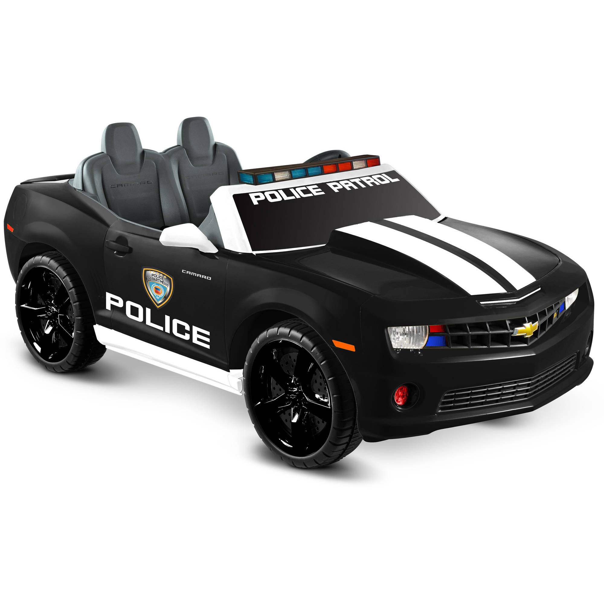 Kid Motorz Chevrolet Racing Camaro Police Edition Two Seater in Black (12V)