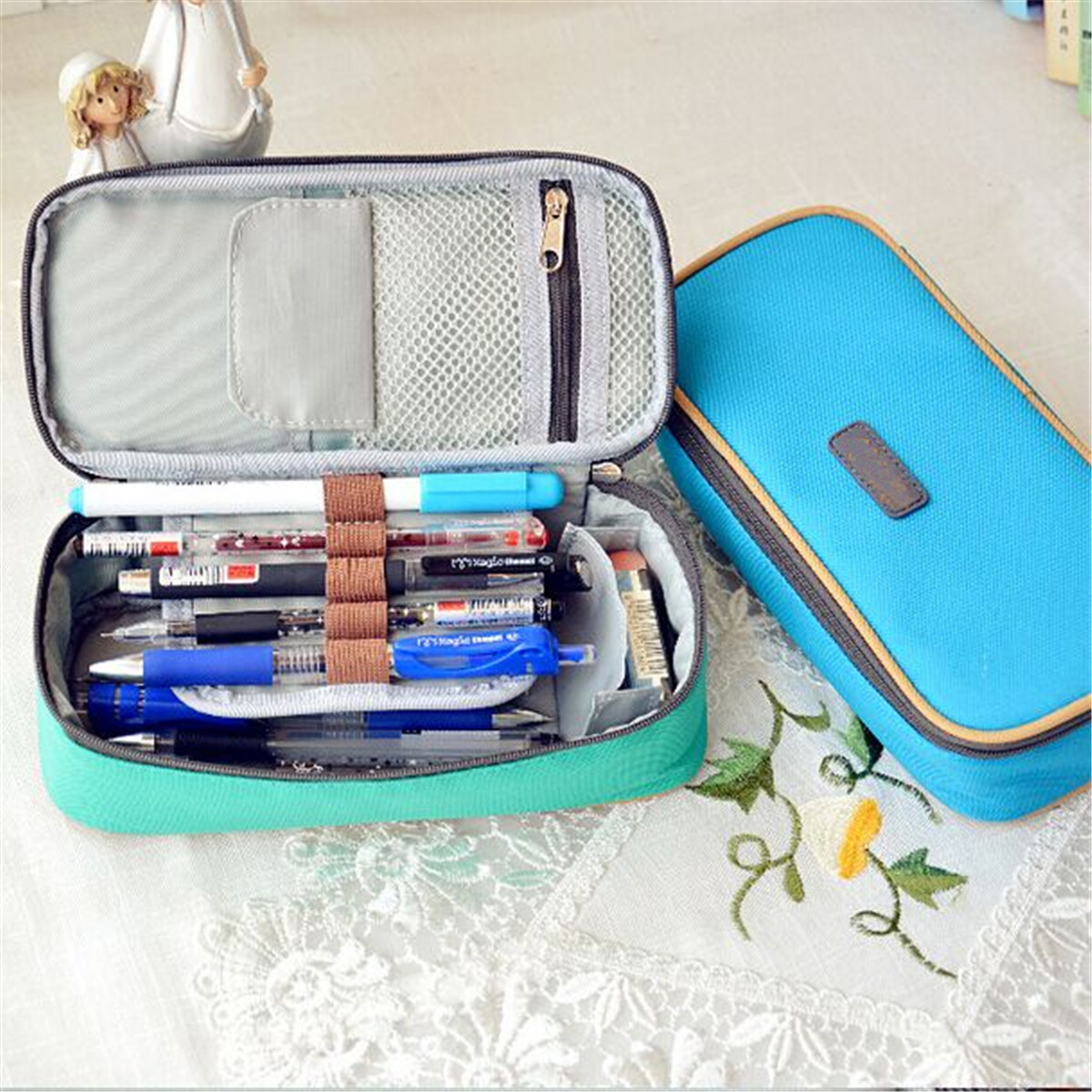 Canvas Pencil Case ,Multifunction Large Capacity Stationary Bag Makeup Cosmetic Pen Box with Zipper Travel Storage Organizer Holder,Pink