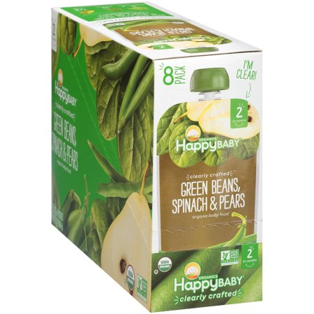 Green Beans Baby Food (Happy Baby Organics Clearly Crafted Green Beans, Spinach & Pears Organic Baby Food 4 oz. Pouches, 8 count)