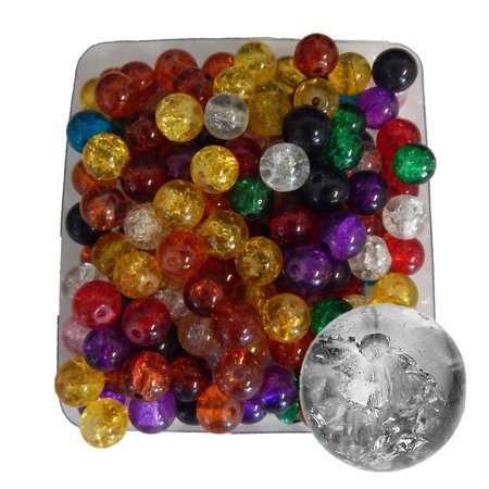 450 8mm Round Crakle Glass, Loose Beads, Mix