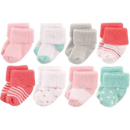 Baby Girls' Newborn Terry Socks 8-Pack - Newborn Baby Socks