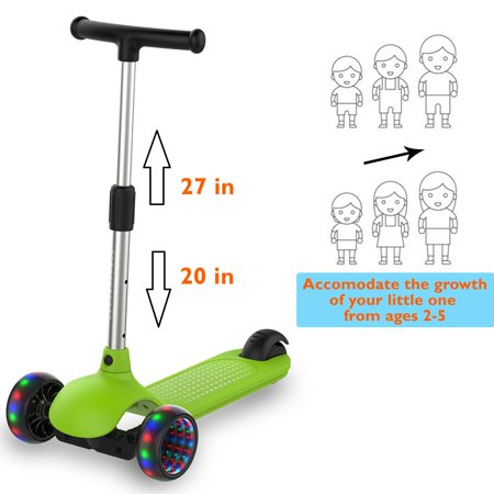 Gyrocopters- MiniMe Kids Kick Scooter with Adjustable Height and LED Wheels (Green) - image 10 of 12